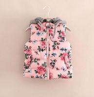 Free Shipping Autumn Winter Girls Sleeveless Cotton Vest Jackets Children's Clothing Hooded Vest Flower Rose Wholesale