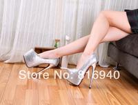 wholesale 2014 spring autumn 19cm ultra high heels sequins sexy women's wedding waterproof shoes red bottom pumps Eur 40-45 46