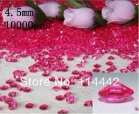 Free Shipping ! 10000 pcs / lot 4.5mm  Hot Pink 1/3 carat Acrylic Diamond Table Scatter wedding confetti