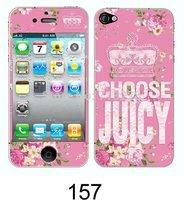 2pcs Free shipping beautiful pink flower kawaii cartoon cute DIY decoration crystal luminated sticker+protector for iphone 5