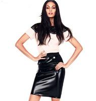 Sexy Elastic Waist Zipper Style Back Black Japanned PU Leather Skirt Women's Fashion Skirts Bust Skirt Promotion