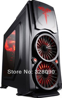 Promotion  Free shipping 3 deluxe edition full interface computer case transparent worm gear 4 fan  Hot selling