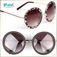 Hot Sale 2014 New Summer Women Sunglass Black Unisex Acetate Round Uv400 Sunglasses Universal type Glasses Brand VIST