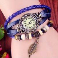 100pcs/lot most popular leather lady watch vintage leave pendant korea style watch tops women new fashion dress wristwatch