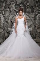2014 New Design White/ivory Sexy Mermaid Wedding Dresses With Removable Train Bridal Dresses Vestidos De Noiva