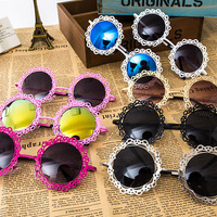 2015 new flower round Sunglasses women Gold Blue Mirror sun eyewear frames Metal lace Party sun shades UV400 vintage sunnies CE