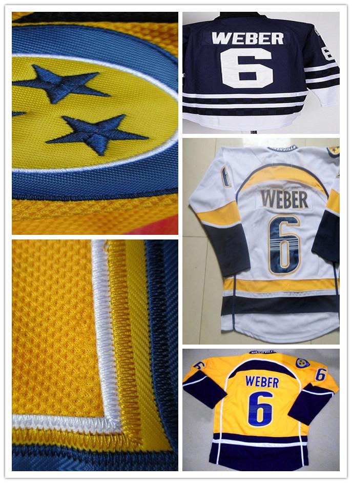 Hot Sale Nashville Predators Hockey Jersey Shea Weber 6 Team Yellow White Third Dark Blue Cheap Stitched Sports Shirt Good(China (Mainland))