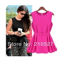 Brief All-match Fashion Dress 4 Colors 3 Sizes Formal Pleated Short Skirt One-piece Dress With Free Waist Belt Gift