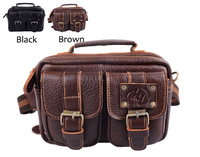 Men's Genuine Leather Cowhide Waist Pack Brown Bag Travel Multi Pocket Cross Body Bag Waist Bags For Men