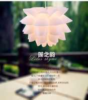 DIY decorative lighting bedroom pvc/pp pendant lamp,35cm lotus child led pendant lights WHITE/PURPLE/Orange/Blue/Pink for choice