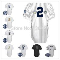 Cheap 2014 Men's Baseball Jersey NY New York #2 Derek Jeter Authentic Jersey W3000 Hits Patch,Embroidery Logos,Size M-XXXL