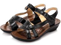 2014 sandals flat heel genuine leather quinquagenarian female sandals slip-resistant sandals