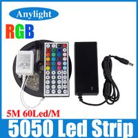5M 5050 Led Strip Light RGB 300 Flexible LED Strip Lighting RGB/Single color+12V 5A Power+44 Key IR Remote/DC Connector WLED38