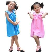 flower girl dress 3~9age blue/pink chiffon girls dresses wholesale 4pcs/lot children's apparel