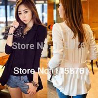 Free Shipping 2014 Tops Women Hi-Q Cotton Suit Behind Fold Chiffon Blazer Outwear One Button Basic Jacket Female Cardigan Coat