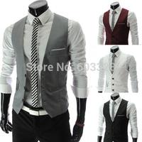 2014 Classical Stylish Men Formal Slim Fit Pocket Buttons V-neck Vest Jacket Man Business Office Tops Waistcoat Clothing Black