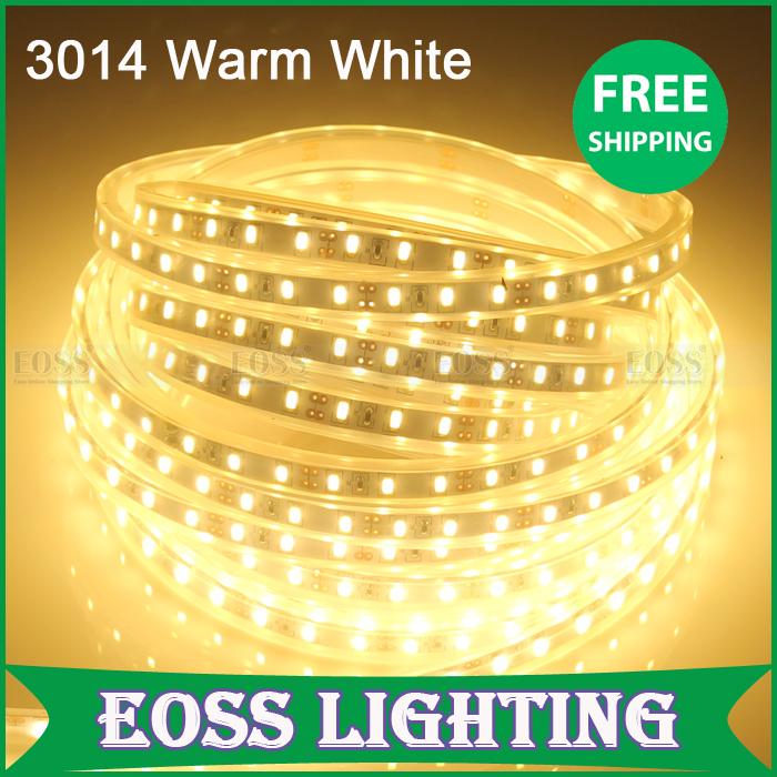 EOSS Lighting- Factory Price High Quality Brightness 3014 waterproof 120LED/meter Warm White LED strip 600LED per 5M freeshipp(China (Mainland))