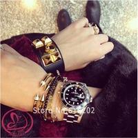 D466 U.S. Tide Brand Women fashion bangles Conical Rivets Double Arrow Bracelets & Bangles High Qualty Rhinestone Bracelets