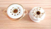 3 pcs Small 9-pin ceramic tube socket seat GZC9-F-6-G seat tube socket