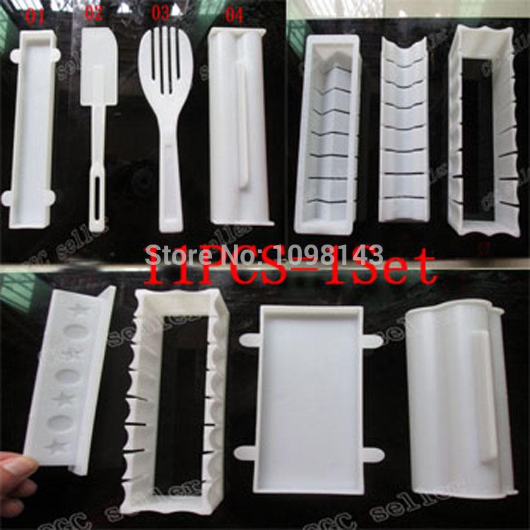 11Pcs=1Set Plastic kit Sushi Tools,Rice Ball Set DIY Japanese Porphyrilic Cake Roll Mold Sushi Multifunctional Mould Suit Maker(China (Mainland))