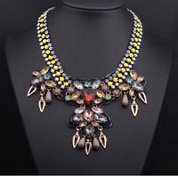 Wholesale or Retail-European Style Rhinestone Resin Gem Flat Chain Drop Crystal Flowers Leaves Choker Necklace