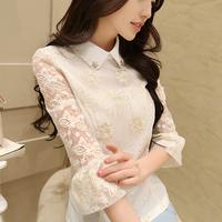 new 2015 spring women white blouse slim chiffon blouse women lace blouses size:s-2xl free shipping 15