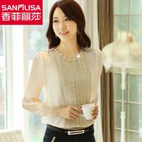 Chiffon blouse 2015 spring  clothing blouse lace basic blouse  long-sleeve top women blouses plus size s-3xl 15