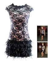 Vestido De Madrinha ,Women Summer Dress , Lucy Meck White Black Lace Real Feather Bandage Dress Ladies Fashion Evening Dress