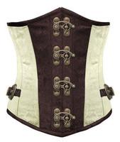Brown-White Lace up Spiral Steel Boned Gothic Steampunk Corset Underbust  Waist Training Tops S-XXL
