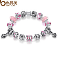 Drop Shipping 925 Silver Charm Bracelets & Bangles for Women With Pink Glass Bead 18cm 20cm 21cm Length Jewelry PA1393