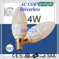 Driverless Dimmable 4W E14 E27 B15 B22 led Candle lights AC COB Ra>80 Milky Glass Dim Bulbo 220V 230V 4-Year Warranty 100pcs/Lot