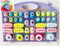 Free shipping DIY Craft Punch Set mix 36pcs with a Punches Tool for paper embossing creative scrapbooking - 1set/lot LCP0008