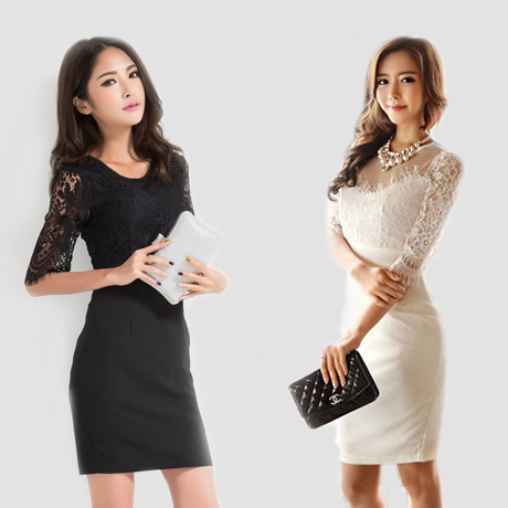 Lace Sexy Bodycon Dresses 2014 Summer Women Evening Party Club half sleeve Clothing Black and White elegant Dress Free Shipping(China (Mainland))