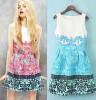 2014 New Fashion Summer Peach Blossom Print Sleeveless O-Neck Slim Women Sexy Dress Flower Girl Dresses S M L High Quality D62A5