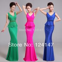 Free Shipping 2014 slim double-shoulder deep V-neck lace fish tail design long formal dress evening dress