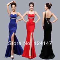 Free Shipping 2014 slim sexy fish tail V-neck placketing design lace long evening dress formal dress