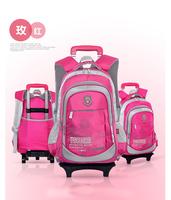 New children nylon shoulder bags kids school bag rucksack backpack with wheels for school boys girls