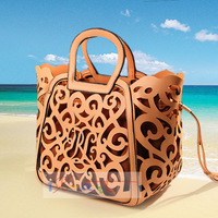 Fringe Tassel Bag Hollow Shoulder Tote,Bolsa Women Messenger Bags PU Leather Gold/Brown 2014 women's fashion handbag