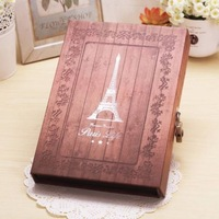 "Eiffel Tower Paris France Patterned Notebook 7.5""x10.8"" Vintage Thick Large Hardcover Ruled Paper Journal Diary With Lock & Box"