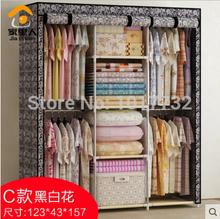 Free shipping! Large cloth wardrobe Large steelframe hanging clothes cabinet simple wardrobe folding home wardrobe(China (Mainland))
