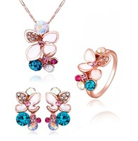 LS329 18K Rose Gold Plated Colorful Crsytal Flower Pendant Necklaces Earrings Rings Women Multicolor Party Wedding Jewelry Sets