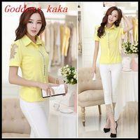 New arrival spring 2014 women tops fashion chiffon blouse with rhinestone short-sleeved shirt women clothing free shipping B018