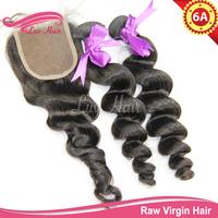 Loose wave virgin hair with closure unprocessed virgin brazilian hair with closure queen hair products bundles with closure