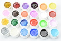 hot sale 24Pcs Mix Color Pure Glitter UV Builder Gel for Nail Art Tip Set free shipping