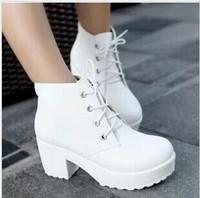 New Fashion Black&White Punk Rock Lace Up Platform Heels Ankle Boots thick heel platform shoes size 35-40