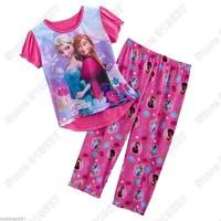 2014 Frozens Elsa&Anna Summer Sleepwear Cotton girl Pyjamas Girls Clothing Children's  Sets Underwear