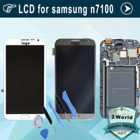 Original LCD screen For Samsung Galaxy Note 2 II N7100 with Touch display + Frame Digitizer Assembly White grey + tools