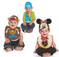 5pcs/lot new 2014 baby boy clothing set,newborn 4pcs suits (hat+baby towel+t-shirt+pants)  cool cartoon printed infant clothing