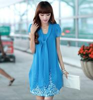 2014 New Fashion Any Aged Girls  Summer Plus Size Women Fat Mm Thin Chiffon Dress 7colors For Choose LLZ001