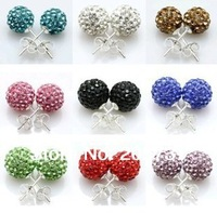 Shamballa Earrings 925 Silver Crystal Disco Ball Shamballa Stud Earring For Women Free Shipping (20Pcs=10Pair/Lot) SHER-Mixcolor
